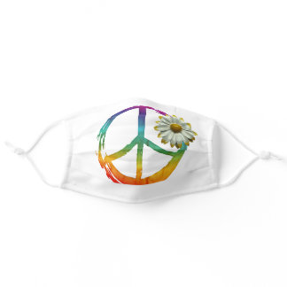 PEACE Symbol sign - Hippie Watercolor Daisy Adult Cloth Face Mask