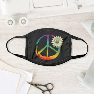 PEACE Symbol sign Hippie Watercolor Daisy tie-dye Face Mask