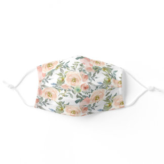 Peach Pink Flowers Sage Green Leaves White Adult Cloth Face Mask