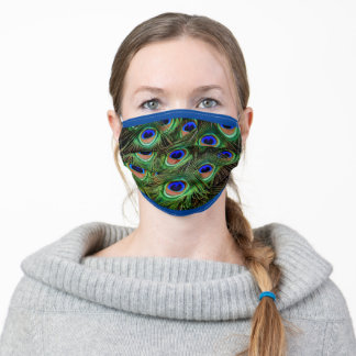 peacock feather green and blue pattern design adult cloth face mask