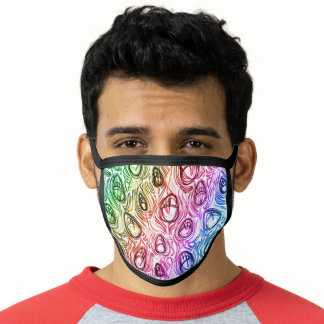 Peacock Feathers Rainbow Flag Colors Gay GLBTQ Face Mask