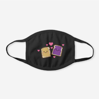 Peanut butter and Jelly Cute Cute Kawaii Food Black Cotton Face Mask