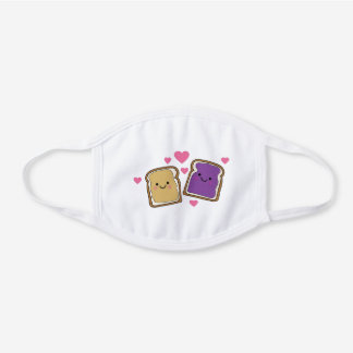 Peanut butter and Jelly Cute Cute Kawaii Food White Cotton Face Mask