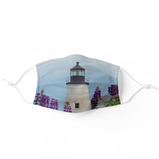 Pemaquid Point Light Lupines Maine Lighthouse Adult Cloth Face Mask