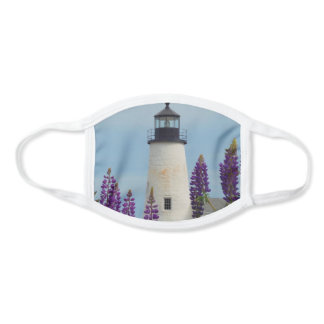 Pemaquid Point Light Lupines Maine Lighthouse Face Mask