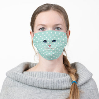 Persian cat face on polka dots adult cloth face mask