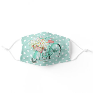 Persian cat in daisy basket on bike adult cloth face mask