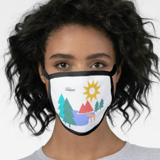 Personalised mountain wildlife scene face mask