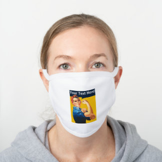 Personalised Rosie the Riveter Custom vintage retr White Cotton Face Mask