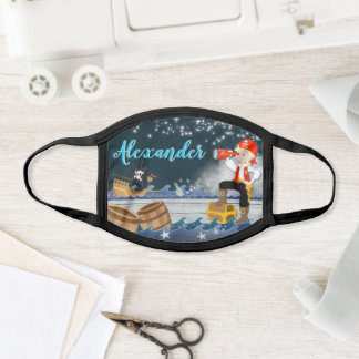 Personalize Name Pirate Boy Whimsical Starry Night Face Mask