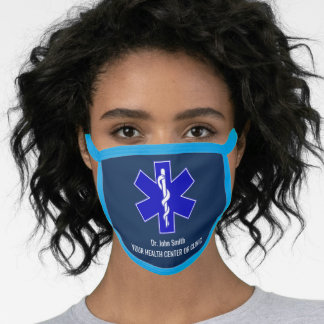 Personalize Rod of Asclepius Star of Life Medical Face Mask
