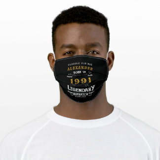 Personalized 30th Birthday Born 1991 Vintage Black Adult Cloth Face Mask