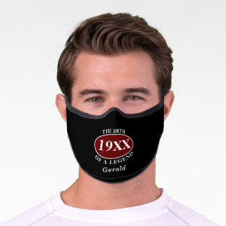 Personalized 80th Birthday Birth Of A Legend Black Premium Face Mask