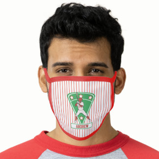 Personalized Baseball Star Red Face Mask