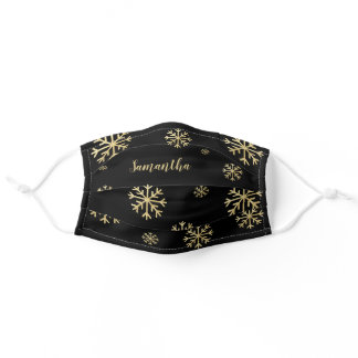 Personalized Black And Gold Snowflake Adult Cloth Face Mask