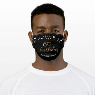 Personalized Black Gold Custom 60th birthday Adult Cloth Face Mask