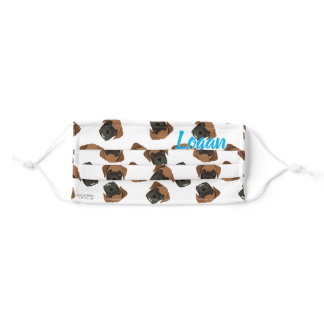Personalized Boxer Dog Puppy Illustration Pattern Adult Cloth Face Mask