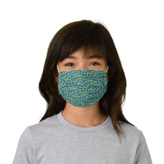 Personalized Chic Turquoise Green Leopard Print Kids' Cloth Face Mask