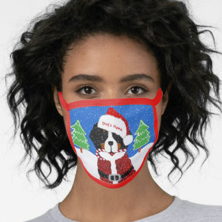 Personalized Christmas Bernese Mt Dog Santa Paws Face Mask