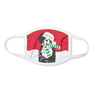Personalized Christmas Bernese Mt Holiday Dog Red Face Mask