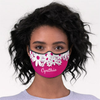 Personalized Cute Pink Floral Premium Face Mask
