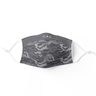 Personalized Dark Gray Camo Pattern Monogram Adult Cloth Face Mask