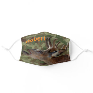 Personalized Deer On Camouflage Background Adult Cloth Face Mask