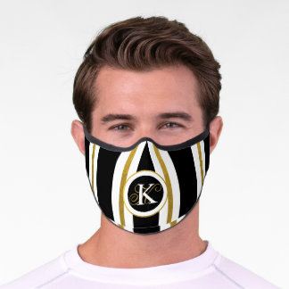 Personalized Elegant Black & Gold Stripes Monogram Premium Face Mask