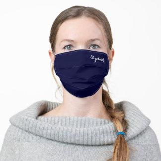 Personalized Elegant Stylish Navy Blue Monogram Adult Cloth Face Mask