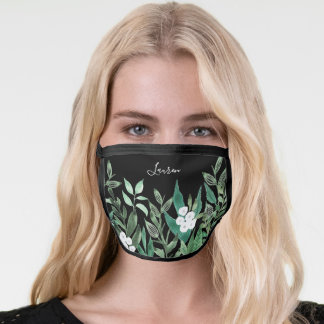 Personalized Green Botanical & White Floral Face Mask