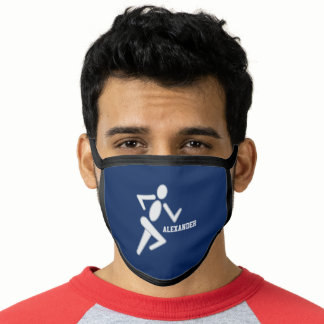 Personalized Grey Blue Runner Running Face Mask