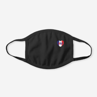 Personalized Heart Shape Flag of France Black Cotton Face Mask