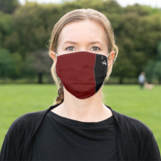 Personalized Initial Name Hearts Minimalist Maroon Adult Cloth Face Mask