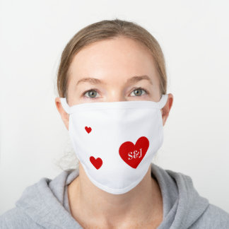 Personalized Initials Simple Red Heart Shape White Cotton Face Mask