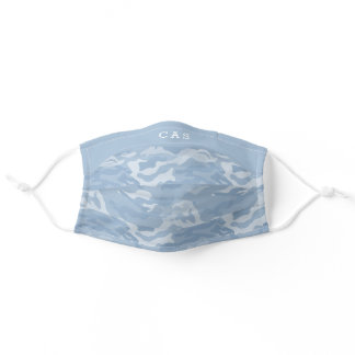 Personalized Light Blue Camo Pattern Monogram Adult Cloth Face Mask