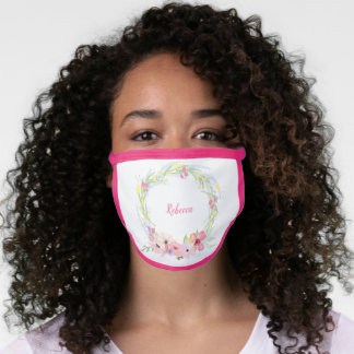 Personalized Light Pastel Watercolor Wreath Face Mask