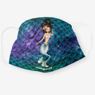 Personalized Mermaid in Blue ~ Under the Sea Cloth Face Mask