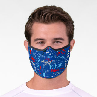 Personalized name blue gray red typographic premium face mask