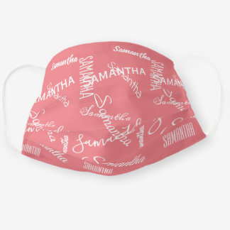 Personalized name Custom White Font Cloth Face Mask