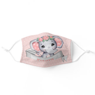 Personalized Name Elephant Baby Girl Pink & Gray Adult Cloth Face Mask