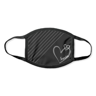 Personalized Name Heart Love Custom Simple Black Face Mask