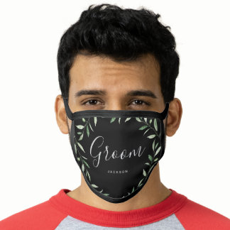 Personalized name rustic greenery groom face mask
