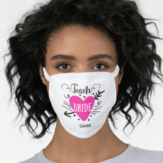 Personalized Name Team Bride Pink Heart Arrow Face Mask