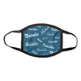 Personalized Name Typography Pattern Blue White Face Mask
