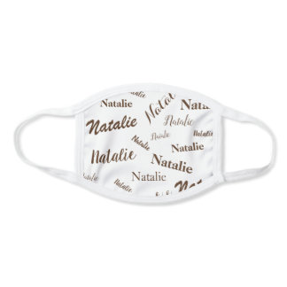 Personalized Name Typography Pattern Brown White Face Mask