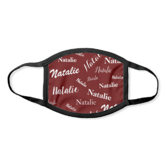 Personalized Name Typography Pattern Burgundy Face Mask