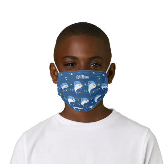 Personalized Navy Blue Cute Shark Kids' Cloth Face Mask
