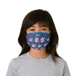 Personalized Navy Blue Pink Cute Shark Kids' Cloth Face Mask
