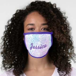 Personalized Pastel Leafy Face Mask