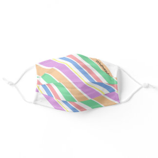 Personalized Pastel Multi Color Diagonal Stripe Adult Cloth Face Mask